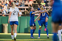 Seattle, Washington - Saturday, July 2nd, 2016: Seattle Reign FC forward Nahomi Kawasumi (36) celebrates with Seattle Reign FC midfielder Beverly Yanez (17) and Seattle Reign FC midfielder Kim Little (8) during a regular season National Women's Soccer League (NWSL) match between the Seattle Reign FC and the Boston Breakers at Memorial Stadium. Seattle won 2-0.