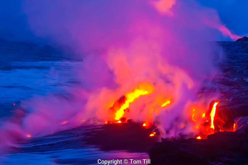 Lava entering Pacific Ocean,<br /> Hawaii, Volcanoes National Park, Hawaii, Big Island of Hawaii, <br /> Continual flow from Kilaeau Volcano, World's most active volcano
