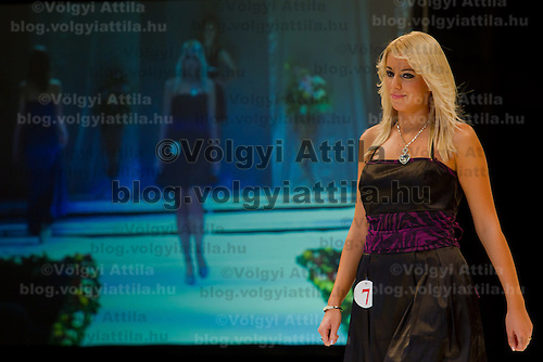 Kitti Ochlslager attends the Miss Hungary 2010 beauty contest held in Budapest, Hungary on November 29, 2010. ATTILA VOLGYI