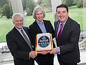 Ian Scott, FCT Board Chair / independent director, Maureen Campbell, FCT Chief Executive and Councillor Adrian Mahoney, Falkirk Council's spokesperson for Culture, Leisure and Tourism celebrate Callendar House's 5 star Visitor Accreditation from Visit Scotland.