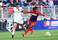 Boyds, MD - Saturday May 07, 2016: Washington Spirit forward Crystal Dunn (19) pulls away from Portland Thorns FC defender Emily Menges (4) during a regular season National Women's Soccer League (NWSL) match at Maureen Hendricks Field, Maryland SoccerPlex. Washington Spirit tied the Portland Thorns 0-0.