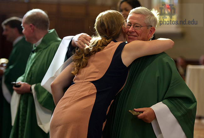 July 13, 2013; Rev. Timothy Scully, C.S.C. celebrates Mass for the 2013 Alliance for Catholic Education Commencement.  Photo by Barbara Johnston/University of Notre Dame