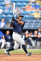 Charleston RiverDogs left fielder Canaan Smith (15) swings at a pitch during a game against the Asheville Tourists at McCormick Field on May 22, 2019 in Asheville, North Carolina. The Tourists defeated the RiverDogs 10-8. (Tony Farlow/Four Seam Images)
