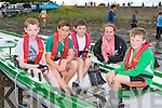 Cromane's Kian Falvey, Cieran O'Sullivan, Con Counihan, Leanne Teahan cox and Kaiya O'Flaherty preparing for action at the Callinafercy regatta at Ballykissane Pier on Sunday
