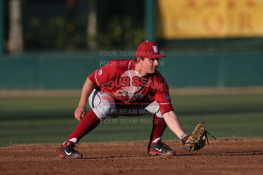 Shea Donlin (3) of the Washington State Cougars in the field during a game against the Southern California Trojans at Dedeaux Field on March 13, 2015 in Los Angeles, California. Southern California defeated Washington State, 10-3. (Larry Goren/Four Seam Images)