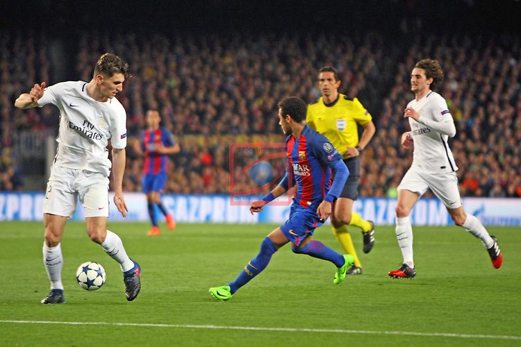 UEFA Champions League 2016/2017.<br /> Round of 16 2nd leg<br /> FC Barcelona vs Paris Saint-Germain: 6-1.<br /> Thomas Meunier vs Neymar Jr.