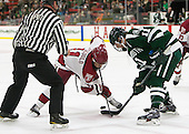 Christopher Piti, Kyle Criscuolo (Harvard - 11), Eric Neiley (Dartmouth - 11) - The Harvard University Crimson tied the visiting Dartmouth College Big Green 3-3 in both team's first game of the season on Saturday, November 1, 2014, at Bright-Landry Hockey Center in Cambridge, Massachusets.