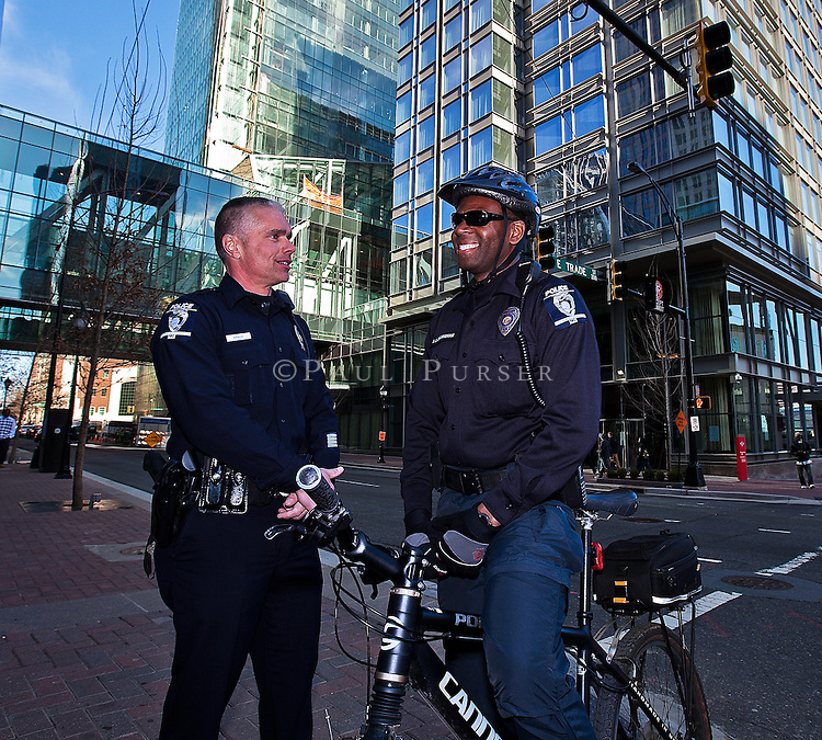 Charlotte NC -  CMPD Officers Kevin Krauz and Anthony Dillingham patrol uptown Charlotte NC