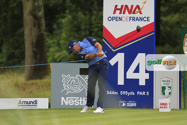 Lee Westwood (ENG) on the 14th tee during Round 3 of the HNA Open De France  at The Golf National on Saturday 1st July 2017.<br /> Photo: Golffile / Thos Caffrey.<br /> <br /> All photo usage must carry mandatory copyright credit      (&copy; Golffile | Thos Caffrey)