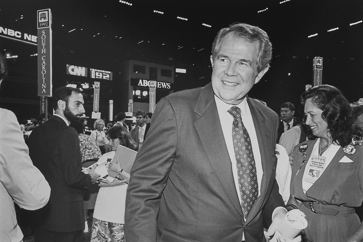 American media mogul and executive chairman Pat Robertson at GOP convention in August 1992. (Photo by Laura Patterson/CQ Roll Call via Getty Images)