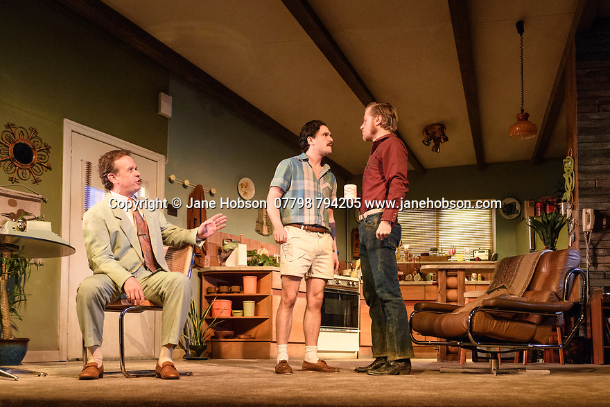 """London, UK. 29.11.2018. The first UK production, since the death of playwright Sam Shepard's play """"True West"""", opens at the Vaudeville Theatre, directed by Matthew Dunster. Kit Harington and Johnny Flynn star, as brothers Austin and Lee, with Madeleine Potter and Donald Sage Mackay completing the cast. Picture shows: Donald Sage Mackay, Kit Harington (Austin) and Johnny Flynn (Lee). Photograph © Jane Hobson."""