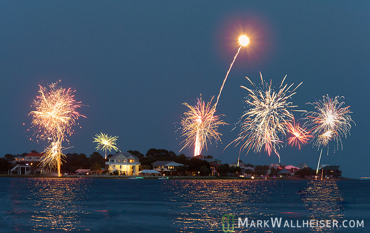 The 4th of July fireworks over Shell Point Beach in Wakulla County, Florida which is located along the Forgotten Coast of the Florida panhandle.