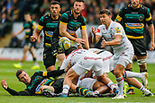 9th September 2017, Franklins Gardens, Northampton, England; Aviva Premiership Rugby, Northampton Saints versus Leicester Tigers; Ben Youngs of Leicester Tigers spins a pass
