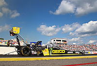 Aug 15, 2014; Brainerd, MN, USA; NHRA top fuel dragster driver Richie Crampton during qualifying for the Lucas Oil Nationals at Brainerd International Raceway. Mandatory Credit: Mark J. Rebilas-USA TODAY Sports
