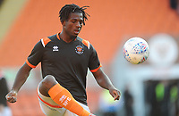 Blackpool's Rocky Bushiri during the pre-match warm-up <br /> <br /> Photographer Kevin Barnes/CameraSport<br /> <br /> The Carabao Cup First Round - Blackpool v Macclesfield Town - Tuesday 13th August 2019 - Bloomfield Road - Blackpool<br />  <br /> World Copyright © 2019 CameraSport. All rights reserved. 43 Linden Ave. Countesthorpe. Leicester. England. LE8 5PG - Tel: +44 (0) 116 277 4147 - admin@camerasport.com - www.camerasport.com