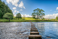 Stepping stones over the River Hodder at Whitewell, Forest of Bowland, Lancashire.