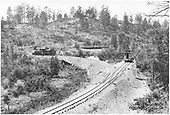 Engineer's-side view of Pagosa Lumber Co. #70 on the wye at Chris Mountain Spur with loaded and empty log cars plus a caboose.<br /> Pagosa Lumber Co.  Chris Mountain Spur,   ca. 1904