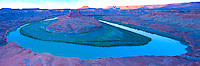 Broad curve of the Green River  Canyonlans Natioal Park, Utah     The turks Head   Seen from the White Rim Panoramic view