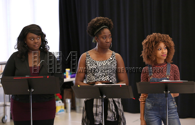 """Amma Osei, Amber Iman and Allison Semmes In Rehearsal with the Kennedy Center production of """"Little Shop of Horrors"""" on October 11 2018 at Ballet Hispanica in New York City."""