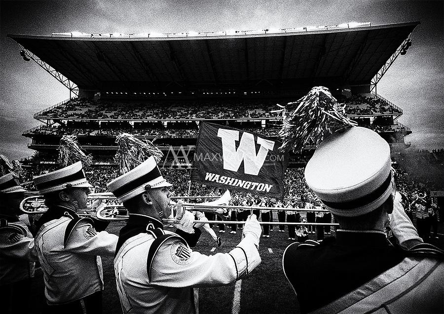 The Husky Band plays on as the Dawgs enter Husky Stadium.