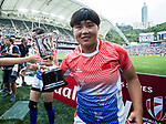 China Team celebrates after winning their Women's Qualifier Final match against South Africa as part of the HSBC Hong Kong Rugby Sevens 2018 on 06 April 2018, in Hong Kong, Hong Kong. Photo by Yu Chun Christopher Wong / Power Sport Images