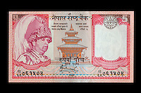 Nepal, 5 Rupee Banknote, King Gyanendra, Taleju Temple, Kathmandu.  Uses Devanagari alphabet.   These banknotes were phased out after Nepal became a republic in 2008.