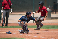 Cleveland Indians catcher Mike Rivera (6) during an Extended Spring Training game against the Arizona Diamondbacks at the Cleveland Indians Training Complex on May 27, 2018 in Goodyear, Arizona. (Zachary Lucy/Four Seam Images)