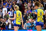 11.05.2019, Scharrena, Stuttgart<br />Volleyball, Bundesliga Frauen, Play-offs Finale, 5. Spiel, Allianz MTV Stuttgart vs. SSC Palmberg Schwerin<br /><br />Jennifer Geerties (#6 Schwerin), Kimberly Drewniok (#8 Schwerin) enttŠuscht / enttaeuscht / traurig <br /><br />  Foto © nordphoto / Kurth