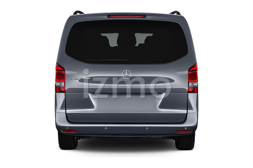 Straight rear view of 2016 Mercedes Benz Metris Passenger-Van 5 Door Passenger Van Rear View  stock images