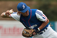 24 july 2010: Luc Piquet of France throws the ball to first base during Netherlands 10-0 victory over France, in day 2 of the 2010 European Championship Seniors, in Neuenburg, Germany.