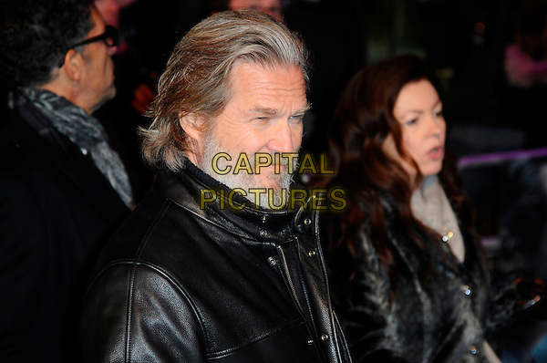 "JEFF BRIDGES .At the ""Tron: Legacy"" UK Film Premiere, Empire cinema, Leicester Square, London, England, UK, .December 5th 2010..portrait headshot side profile  black leather coat jacket beard facial hair .CAP/CAS.©Bob Cass/Capital Pictures."