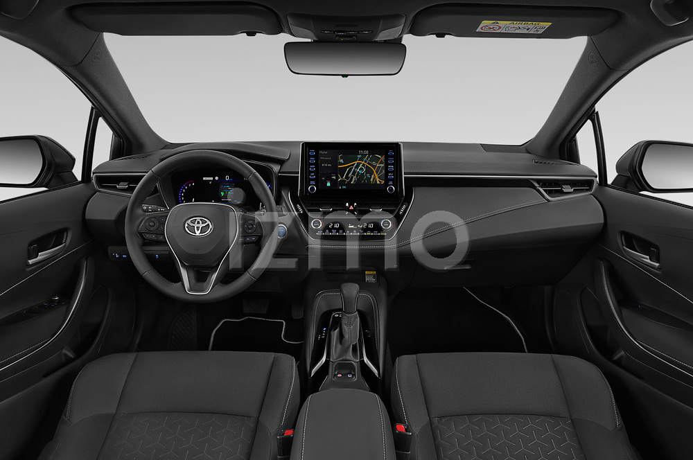 Stock photo of straight dashboard view of 2019 Toyota Corolla-TS-hybrid Style 5 Door Wagon Dashboard