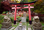 Suehiro ogami shrine with Fuku Kaeru, Fortune Frog shrine at the exit of Fushimi Inari Taisha head shrine. Kaeru means both a Frog and Come back or Return in Japanese. Kyoto, Japan 2017.