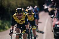 Maarten Wynants (BEL/LottoNL-Jumbo) bringing GC leader Primoz Roglic (SVK/LottoNL-Jumbo) back to the peloton after he was involved in a minor crash<br /> <br /> Racing in/around Lake District National Parc / Cumbria<br /> <br /> Stage 6: Barrow-in-Furness to Whinlatter Pass   (168km)<br /> 15th Ovo Energy Tour of Britain 2018