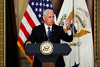 Vice President Mike Pence delivers remarks to High Intensity Drug Trafficking Area (HIDA) directors and deputy directors in the Indian Treaty Room of the Eisenhower Executive Office Building on the White House grounds, Washington, DC, February 7, 2019.<br /> CAP/MPI/RS<br /> ©RS/MPI/Capital Pictures