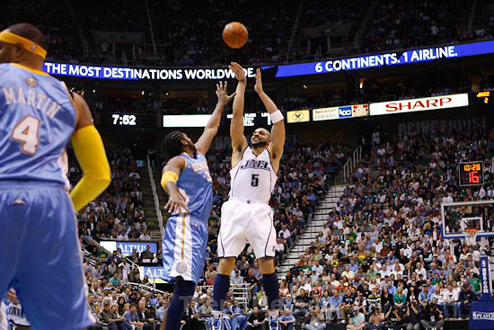 Trent Nelson  |  The Salt Lake Tribune.Salt Lake City - Utah Jazz vs. Denver Nuggets, Game 4, NBA Playoffs basketbal at EnergySolutions Arena Sunday, April 25, 2010. Utah Jazz's Carlos Boozer (5)