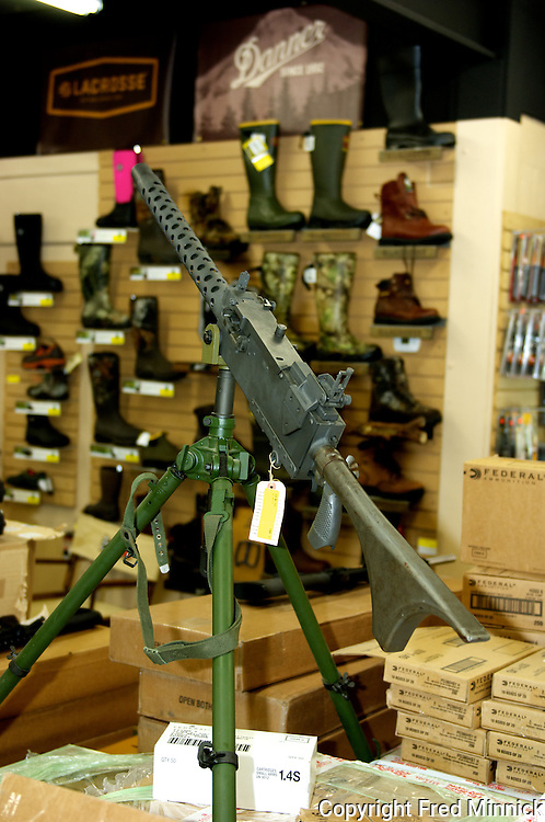 A Machine Gun at the Kentucky Gun Company and Keene's Ham, the only store in America where you can purchase a gun, groceries and beer.