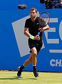 June 19th 2017, Queens Club, West Kensington, London; Aegon Tennis Championships, Day 1; Number six seed Grigor Dimitrov (BUL) plays a backhand during his first round singles match against Ryan Harrison (USA); Dimitrov won in straight sets
