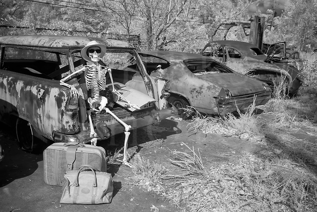 Out in the parking lot of the Highway to Hell Cafe after a filling breakfast, Jake waits with his bags for the bus heading for the town of Afterlife. He's looking forward to retirement and some final rest after working himself to the bone all those years in the Haunted House carnival attraction. Both this snazzy traveler wearing Ray Bans and his bird buddy are perched on a 1956 Chevy station wagon that gave up the ghost a long time ago. What's a bony body to do while waiting? Smoke a cigar and work on the tan, of course!