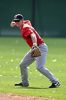 March 18, 2010:  Second Baseman Jason Thompson of the Boston Red Sox organization during Spring Training at Ft.  Myers Training Complex in Fort Myers, FL.  Photo By Mike Janes/Four Seam Images