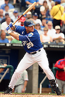Mike Sweeney bats against the Philadelphia Phillies at Kauffman Stadium in Kansas City, Missouri on June 10, 2007.  The Royals won 17-5.