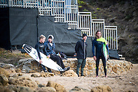 Bells Beach, Torquay, Victoria, Australia (Wednesday, March 23 2016): Davey Cathels (AUS), Matt Bemrose (AUS) and Coach Glen Hall (AUS) with Matty Wilkinson (AUS) -<br /> Bells Beach has been hosting surfing tournaments for more than 50 years now, making it the most renowned spot on the raw and rugged southern coast of Victoria, Australia. The list of  Rip Curl Pro event champions is a veritable who's who of surfing icons, including many world champions.<br /> <br /> Surfing's greats have a way of dominating Bells. Mark Richards, Kelly Slater, and Mick Fanning all have four Bells trophies; Michael Peterson and Sunny Garcia, three; While Simon Anderson, Tom Curren, Joel Parkinson, Andy Irons, and Damien Hardman each grabbed a pair.<br /> <br /> The story is similar on the women's side. Lisa Andersen and Stephanie Gilmore have four Bells titles; Layne Beachley and Pauline Menczer, three; while Kim Mearig and Sally Fitzgibbons each have two.<br /> <br /> The 2016 event is about to kick off tomorrow and there was a packed warm up session at Bells this morning. <br /> Photo: joliphotos.com