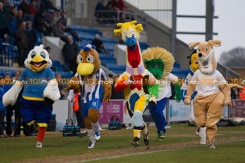 The mascot race at half time raised one of the biggest cheers - Colchester United vs Preston North End - NPower League One Football at the Weston Homes Community Stadium - 09/02/13 - MANDATORY CREDIT: Ray Lawrence/TGSPHOTO - Self billing applies where appropriate - 0845 094 6026 - contact@tgsphoto.co.uk - NO UNPAID USE.
