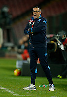 Napoli's coach  Maurizio Sarri reacts  during the  italian serie a soccer match,between SSC Napoli and Torino      at  the San  Paolo   stadium in Naples  Italy , January 07, 2016