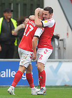 Fleetwood Town's Paddy Madden celebrates scoring his side's equalising goal to make the score 1-1 with team-mate Lewis Coyle<br /> <br /> Photographer Kevin Barnes/CameraSport<br /> <br /> The EFL Sky Bet Championship - Fleetwood Town v AFC Wimbledon - Saturday 10th August 2019 - Highbury Stadium - Fleetwood<br /> <br /> World Copyright © 2019 CameraSport. All rights reserved. 43 Linden Ave. Countesthorpe. Leicester. England. LE8 5PG - Tel: +44 (0) 116 277 4147 - admin@camerasport.com - www.camerasport.com