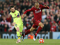 Liverpool's Fabinho gets away from Barcelona's Lionel Messi<br /> <br /> Photographer Rich Linley/CameraSport<br /> <br /> UEFA Champions League Semi-Final 2nd Leg - Liverpool v Barcelona - Tuesday May 7th 2019 - Anfield - Liverpool<br />  <br /> World Copyright © 2018 CameraSport. All rights reserved. 43 Linden Ave. Countesthorpe. Leicester. England. LE8 5PG - Tel: +44 (0) 116 277 4147 - admin@camerasport.com - www.camerasport.com