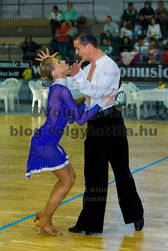 István Kunhalmi & Henrietta Szirmai perform their latin dance during the Tendance Hungarian National Championships organized by MTASZ held in Vac City Sports Hall, Vac, Hungary, Sunday, 05. October 2008. ATTILA VOLGYI