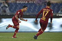 Football, Serie A: AS Roma - Genoa, Olympic stadium, Rome, December 16, 2018. <br /> Roma&rsquo;s Justin Kluivert (l) celebrates after scoring during the Italian Serie A football match between Roma and Genoa at Rome's Olympic stadium, on December 16, 2018.<br /> UPDATE IMAGES PRESS/Isabella Bonotto