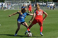 Kansas City, MO - Saturday May 13, 2017:  Brittany Ratcliffe and Celeste Boureille battle during a regular season National Women's Soccer League (NWSL) match between FC Kansas City and the Portland Thorns FC at Children's Mercy Victory Field.