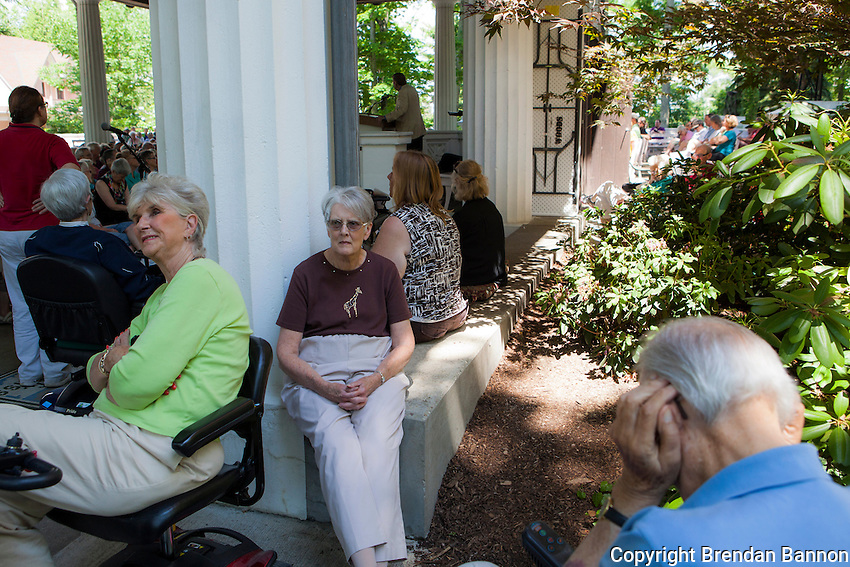Audience members overflowed from the lecture hall to listen to John Shelby Spong  who gave a week of Interfaith lectures  in the  Hall of Philosophy. Spong was the Episcopal Bishop of Newark, New Jersey, for 24 years and lectures regularly at Chautauqua. Chautauqua, NY. June 27, 2014. Photo by Brendan Bannon